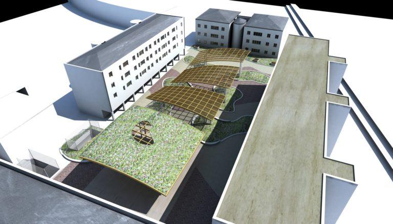 Vista dall'alto. Progetto riqualificazione fabbricati pubblici di Piazza Mattarella a Parma
