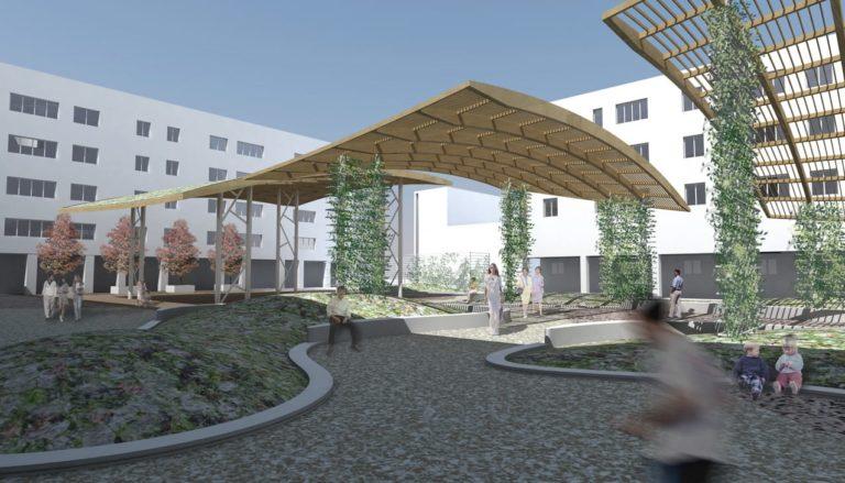 Ricostruzione 3d Progetto di riqualificazione architettonica Piazza Mattarella a Parma