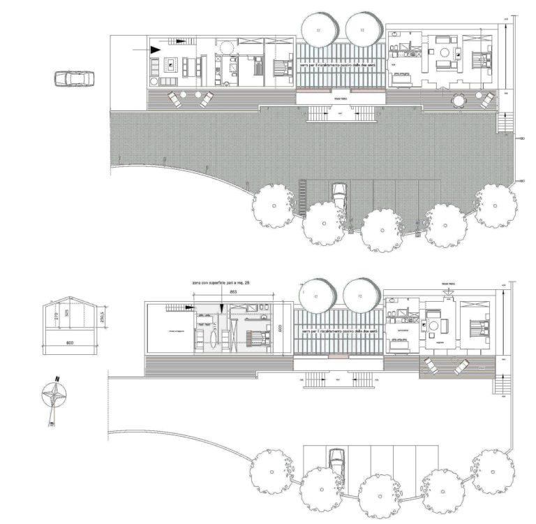 Pianta del Progetto di fabbricato unifamiliare con serra per il riscaldamento passivo, Cesi