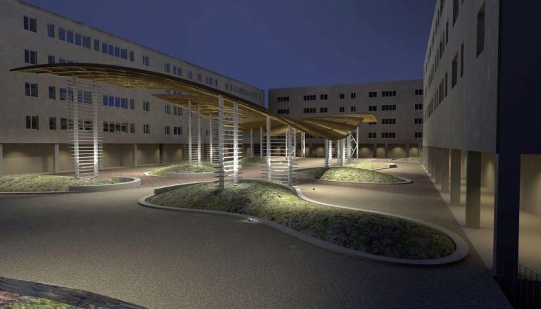 Vista notturna, progetto di riqualificazione architettonica Piazza Mattarella a Parma