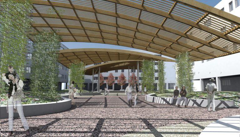 Paesaggio ad altezza uomo, progetto di riqualificazione architettonica Piazza Mattarella a Parma