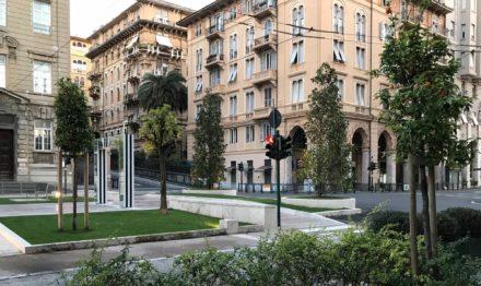 Sistemazione di Piazza Verdi a La Spezia con l'artista Daniel Buren. Vannetti architetti