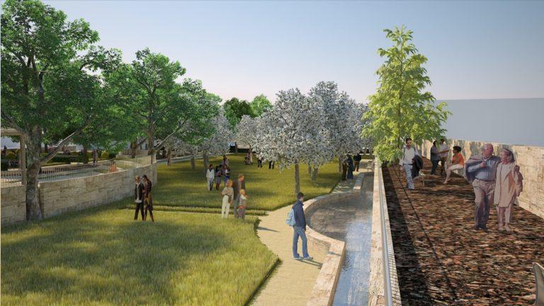 Vista del sistema delle acque per riqualificazione urbana, Rapolano Terme