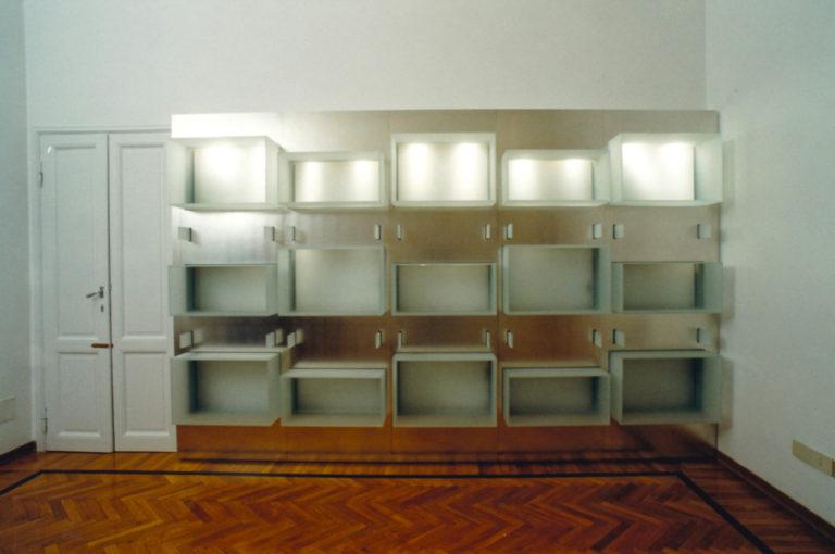 Libreria in zinco e vetro. Disegno di elementi di arredo su misura Firenze Toscana