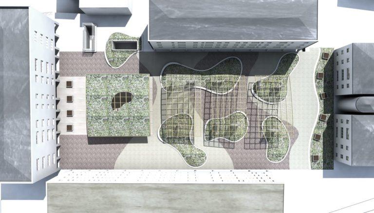 Analisi delle ombre ore 10:00, progetto di riqualificazione architettonica Piazza Mattarella a Parma