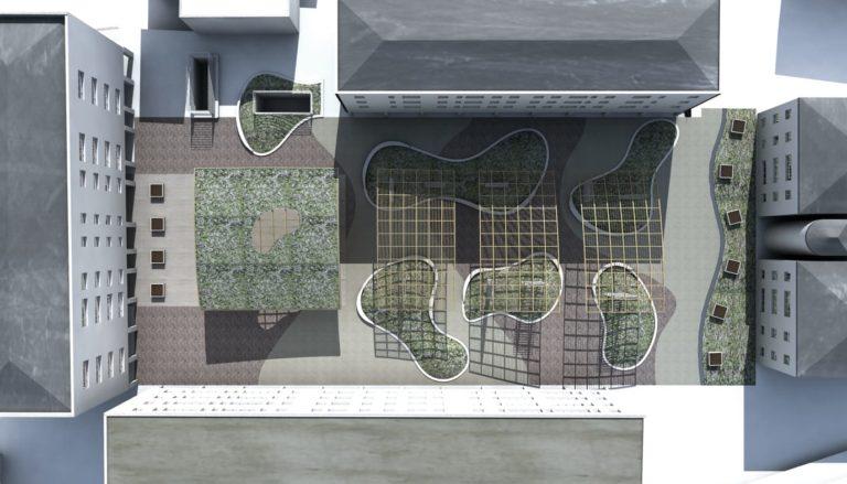 Analisi delle ombre ore 8:00, progetto di riqualificazione architettonica Piazza Mattarella a Parma