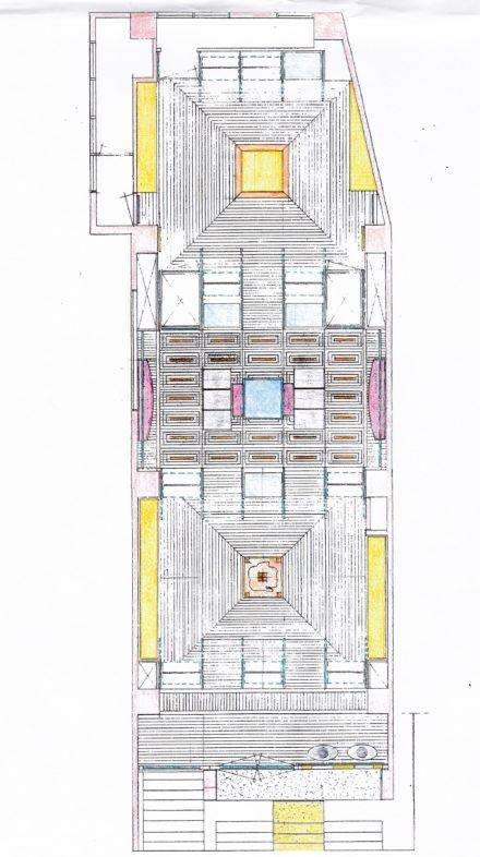 Pianta. Studio per la linea architettonica negozi dello stilista di moda Maurizio Bonas di Firenze.