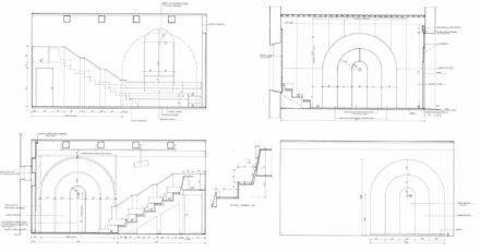 Prospetti e sezioni. Design d'interni per sala multimediale Fattoria di Celle, Santomato